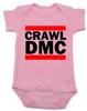 Crawl DMC baby Bodysuit, Run DMC baby clothes pink