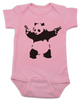 Banksy panda with guns baby Bodysuit, Banksy baby clothing, pink