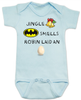 Jingle bells, batman smells, funny christmas baby clothes, robin laid an egg, funny jingle bells Bodysuit, silly christmas onsie, blue