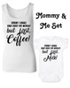 Funny Mommy & Me Gift Set, Mommy and Me matching set, But First Milk Bodysuit, but first coffee ladies tank top, coffee mom gift, today I shall take over the world, but first coffee, but first milk, coffee lover mom shirt with matching baby Bodysuit