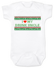 I love my drunk uncle baby Bodysuit, funny uncle baby Bodysuit, funny baby gift from uncle, personalized uncle Bodysuit for infant, ugly christmas sweater baby Bodysuit, personalized ugly christmas sweater Bodysuit, drunk uncle baby onsie, funny christmas baby clothes, I love my funny uncle infant bodysuit