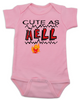 Cute as Hell Baby Bodysuit, little hellion, little devil baby Bodysuit, cute as hell infant bodysuit, cute as shit baby onsie, pink