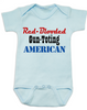 Red-blooded Gun-toting American, funny redneck baby gift, proud american baby bodysuit, red-blooded american baby Bodysuit, funny Gun toting baby onsie, patriotic baby gift, baby gift for gun lovers, blue