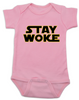 Stay Woke Star Wars Logo baby Bodysuit, Pink