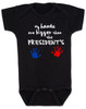 My hands are bigger than the president's, Donald Trump baby Bodysuit, tiny hands baby onsie, funny trump baby gift, trump hands baby bodysuit, black