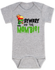 Beware of the Mombie, Mombie baby Bodysuit, new mom zombie, Zombie Mom baby gift, New Mombie, Baby shower gift for zombie lover, grey