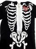 Toddler Skeleton Jumpsuit, Halloween Skeleton suit for toddlers, Skeleton jumpsuit with hood, vulgar baby skeleton suit, toddler skeleton costume, skeleton bones jumpsuit with face on hood, cool kids skeleton outfit, skeleton bodysuit for toddlers, Hooded Skeleton bodysuit, close up of front
