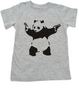 Banksy panda with guns baby toddler shirt, Banksy kids clothing, grey