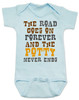 The road goes on forever and the potty never ends, Texas country music baby, Robert Earl Keen baby Bodysuit, The road goes on forever and the party never ends, The potty never ends baby Bodysuit, Texas country baby gift, The party never ends baby bodysuit, blue