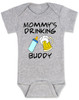 Mommy's drinking buddy, Drinking buddies Mother and child, Mom's drinking buddy baby Bodysuit, beer and baby bottle, Mom's best friend, drinking with mommy, Mommy drinking buddy baby onsie, baby gift for beer drinking parents, funny beer baby Bodysuit, grey
