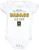 My Mom is a badass soldier, military MOm baby Bodysuit, Soldier mom, Badass mom infant bodysuit, Army Soldier mom