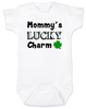 Mommy's Lucky Charm Baby Bodysuit, St. Patricks Day onsie, four leaf clover, Irish baby, Good luck charm, St. Patty's day infant bodysuit