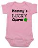 Mommy's Lucky Charm Baby Bodysuit, St. Patricks Day onsie, four leaf clover, Irish baby, Good luck charm, St. Patty's day infant bodysuit, pink