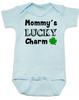 Mommy's Lucky Charm Baby Bodysuit, St. Patricks Day onsie, four leaf clover, Irish baby, Good luck charm, St. Patty's day infant bodysuit, blue