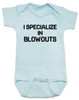 blowout specialist baby bodysuit, i specialize in blowouts, stylist baby gift, hair stylist baby, funny hair baby bodysuit, poop joke baby bodysuit, diaper blowout baby, future hair stylist baby, blue