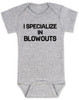 blowout specialist baby bodysuit, i specialize in blowouts, stylist baby gift, hair stylist baby, funny hair baby bodysuit, poop joke baby bodysuit, diaper blowout baby, future hair stylist baby, grey