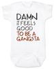 Damn it feels good to be a gangsta, gangsta baby, gangster baby, hip hop baby gift, rap music baby bodysuit, gangsta baby bodysuit, geto boys baby bodysuit, real gangsta-ass babies
