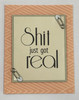 greeting card, handmade card, cool new parents, funny greeting card for baby, greeting card for baby gift, shit just got real, funny baby card, stripes, peach