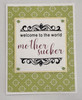 greeting card, handmade card, cool new parents, funny greeting card for baby, greeting card for baby gift, funny baby card, welcome to the world, mother sucker, mother sucker baby card, paisley, green, Circles