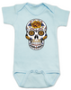 Dia de los Muertos baby Bodysuit, Yellow Rose skull, sugar skull Bodysuit, Day of the dead baby Bodysuit, Halloween baby Bodysuit, sugar skull halloween baby, blue