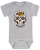 Dia de los Muertos baby Bodysuit, Yellow Rose skull, sugar skull Bodysuit, Day of the dead baby Bodysuit, Halloween baby Bodysuit, sugar skull halloween baby, grey