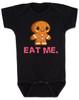 eat me baby bodysuit, funny christmas baby, gingerbread eat me, funny gingerbread, bad humor baby gift, black