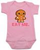 eat me baby bodysuit, funny christmas baby, gingerbread eat me, funny gingerbread, bad humor baby gift, pink
