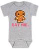 eat me baby bodysuit, funny christmas baby, gingerbread eat me, funny gingerbread, bad humor baby gift, grey
