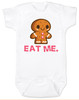 eat me baby bodysuit, funny christmas baby, gingerbread eat me, funny gingerbread, bad humor baby gift