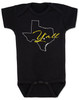 texas yall onesie, yall baby bodysuit, texas outline baby clothing, black