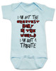 Tribute baby bodysuit, greatest baby in the world, tenacious d baby, rock and roll tribute, I'm just a tribute, this is not the greatest song in the world, this is just a tribute, blue