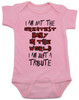 Tribute baby bodysuit, greatest baby in the world, tenacious d baby, rock and roll tribute, I'm just a tribute, this is not the greatest song in the world, this is just a tribute, pink