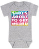 It's about to get weird, about to get wierd, shit is about to get weird, funny baby shower gift, tie dye baby onesie, baby bodysuit with tie dye, baby bodysuit with funny saying, shit's gonna get weird, grey