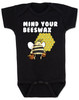 Mind your beeswax, mommy doesn't want your advice, mind your business, shut up new mom, funny baby clothes, angry bee funny baby gift, funny gift for new parents, black