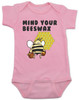 Mind your beeswax, mommy doesn't want your advice, mind your business, shut up new mom, funny baby clothes, angry bee funny baby gift, funny gift for new parents, pink