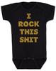rock bodysuit, rock this shit, funny baby rock shirt, funny baby bodysuit about poop, funny poop bodysuit, rockin roll baby, black