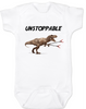 Unstoppable T-Rex dinosaur baby Bodysuit, T-Rex with grabbers, white
