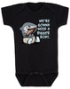 We're gonna need a bigger boat, Baby Jaws, shark eating boat, cute shark baby bodysuit, we are going to need a bigger boat, funny shark baby gift, growing family baby bodysuit, black