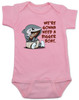 We're gonna need a bigger boat, Baby Jaws, shark eating boat, cute shark baby bodysuit, we are going to need a bigger boat, funny shark baby gift, growing family baby bodysuit, pink