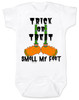 Trick or treat, smell my feet, halloween baby onesie, funny halloween baby, monster feet baby bodysuit, white