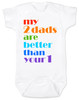 my 2 dads are better than your 1, pride baby gift, gift for 2 dads, baby gift for same sex couple, gay parents baby shower, white