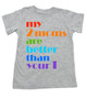 my 2 moms are better than your 1, pride toddler shirt, gift for 2 moms, gay parents toddler gift, grey