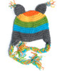 Crochet Owl hat, fun toddler crochet hat, knit owl winter hat, toddler owl hat with tassels, knitted animal hat for toddlers, Owl baby hat, colorful knit hat for little kids, rainbow crochet hat for little kids, rainbow owl toddler hat, back