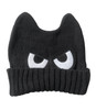 cool kids winter hat, mad eyes hat for toddlers, angry face knit hat, black cat hat for kids, kids hat with eyes and ears, monster hat for toddlers, fun beanie for kids, beanie with eyes, black skullie for toddlers