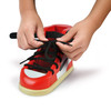 old school shoe toddler toy, learn to tie shoes, toddler toy shoe, fun learning toy for young kids, black white and red toy shoe, wooden shoe learn to tie, learn to tie trainer, old school toddler gift, cool gift for toddlers, cool toy for little kids, showing kid how to tie shoe