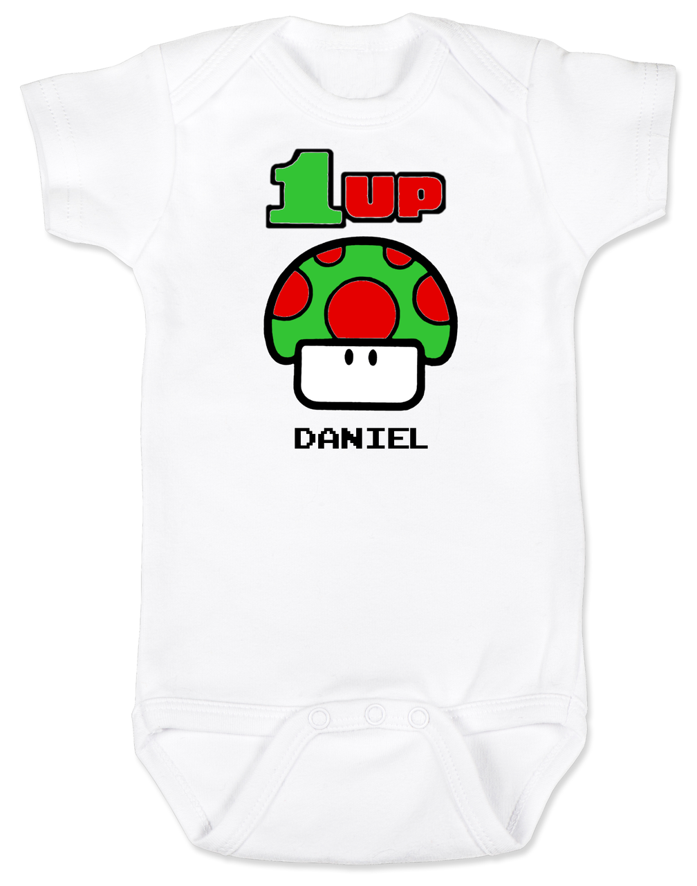 1 UP Baby Bodysuit With Custom Name Super Mario Mushroom Up Personalized