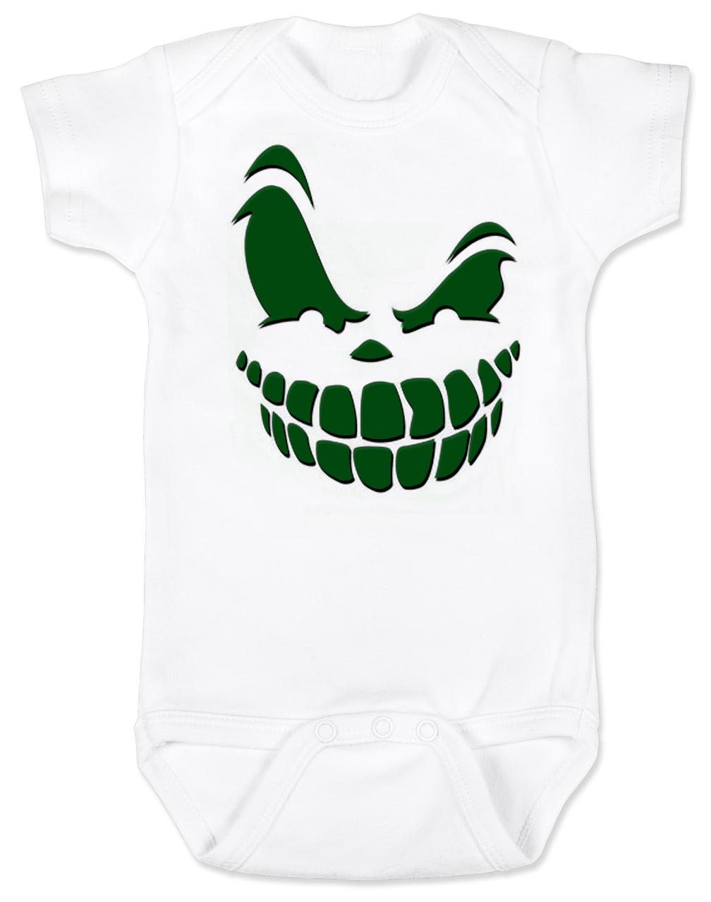 jack-o-baby halloween baby bodysuit, scary pumpkin face