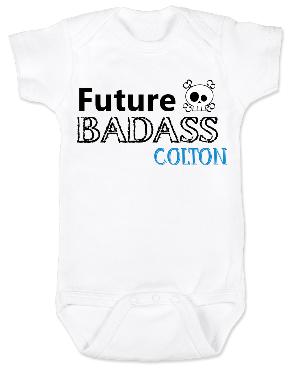 010845e3 Future Badass Personalized Baby Boy Bodysuit, skull baby onsie,  personalized with custom name