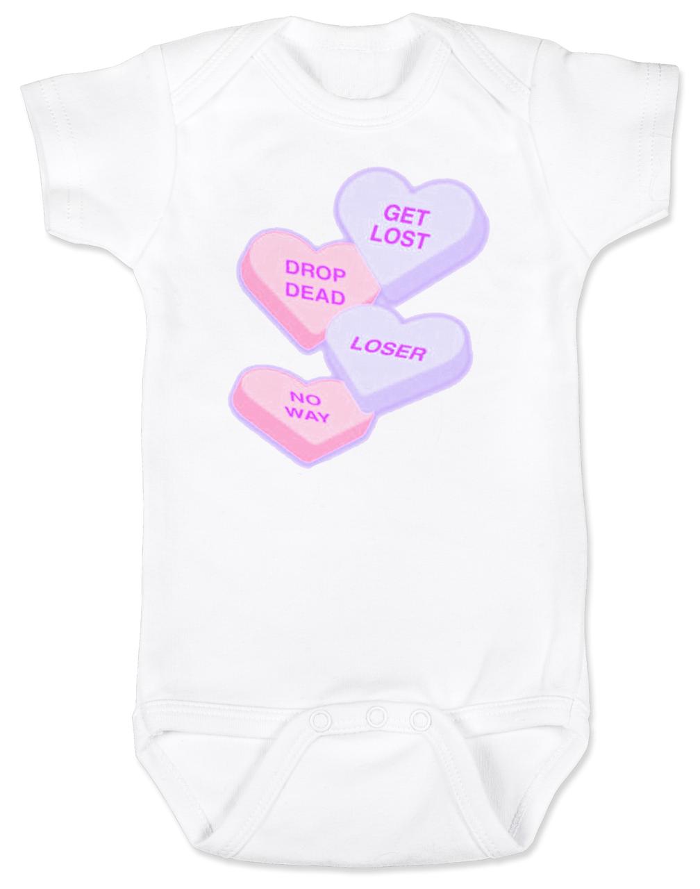 Rude Candy Hearts Baby Bodysuit
