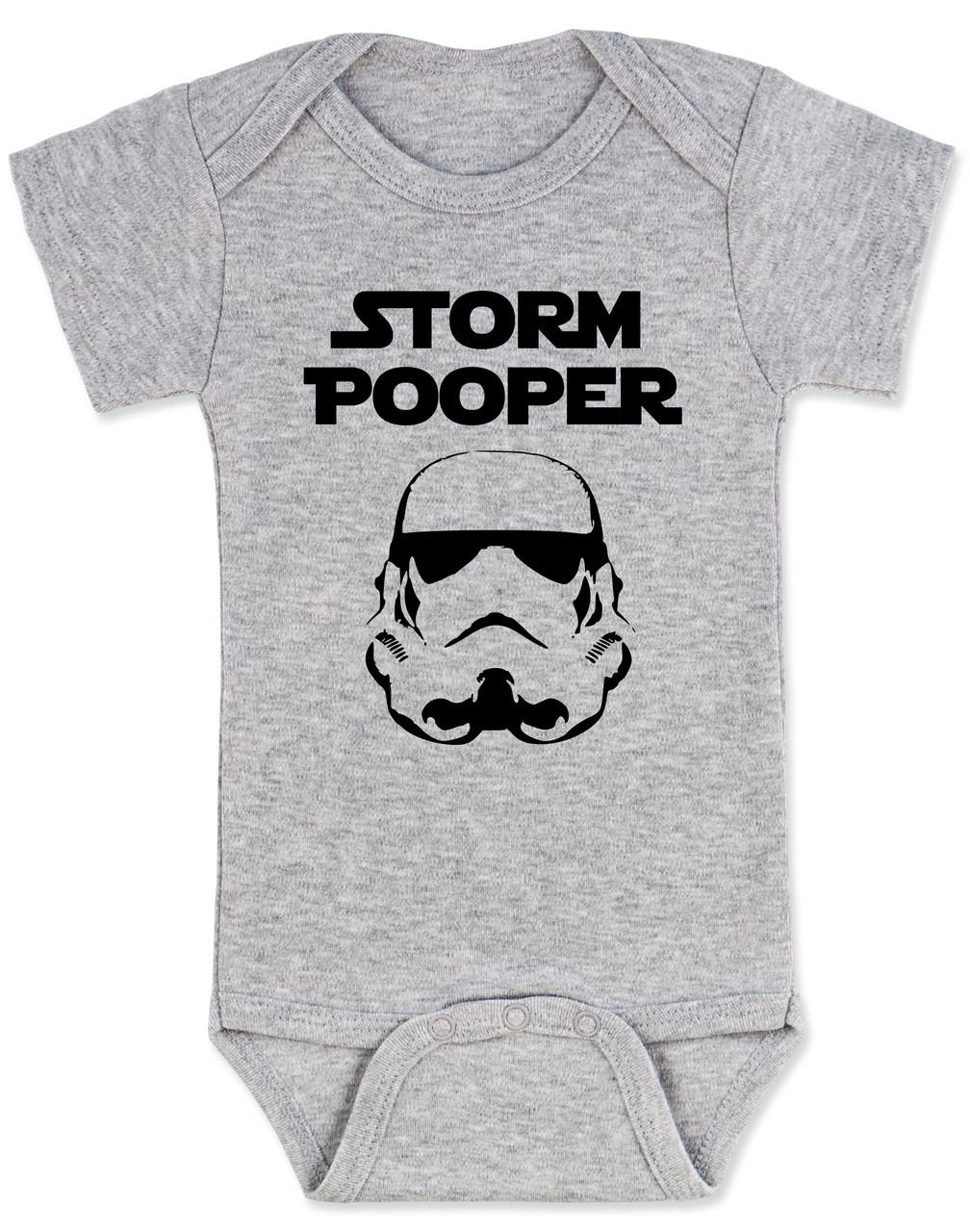 Storm Trooper Diaper Onesie Movie Lover Funny Baby Onesie Superhero Newborn Storm Pooper Cute Double Sided Baby Onesie Bodysuits